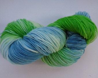 Hand Dyed Yarn, Blue Lagoon - SW Merino/Nylon Fingering Wt.