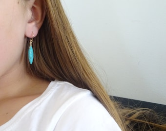 Turquoise Earrings, 14K Gold fill, Sterling Silver, Drop Earrings,  Bridesmaid gifts, December Birthstone earrings, turquoise drops