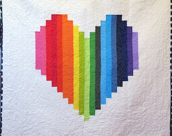 Rainbow Heart Quilt ,Rainbow Throw Quilt, Pride Quilt