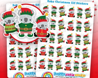 36 Cute Koko the Koala Christmas Elf/Elf on the Shelf/ Planner Stickers, Filofax, Erin Condren, Happy Planner, Kawaii, Cute Sticker, UK
