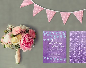 Engagement Party Invitations - Casual and Fun Violet Engaged Party Cards