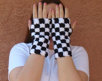 Checkered White and Black Fingerless Gloves for Men or Women, Fingerless Mittens, Arm Warmers, Wrist Warmers, Checkers MADE TO ORDER