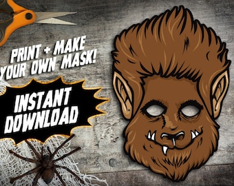 PRINTABLE Wolfman Mask, kids paper werewolf halloween mask, DIY halloween party costume, cryptozoology monster mask, instant download PDF