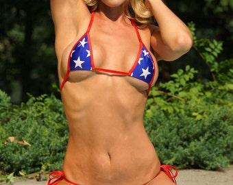 Bitsy's Bikinis Patriotic Scrunch Bikini 3 Piece Set Mesh Brazilian Bottom Triangle Top Micro G-String Thong Red White & Blue American Flag