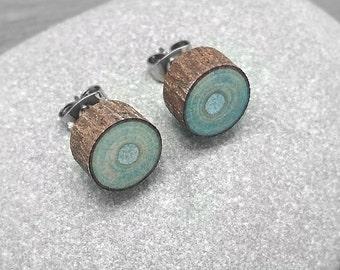 Lumière bleu bois tranche boucles d'oreilles - Boucles d'oreilles écorce - bois Faux Plug Fake Gauge poste boucles d'oreille avec acier chirurgical