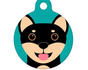 Pet ID Tag - Shiba Inu - Black and Tan Pet Tag, Dog Tag