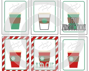 Starbucks Coffee Digital Scrapbooking Journaling Cards - Red Cup Latte - Project Life Pocket Page Inserts - DIY Printable - DIGITAL DOWNLOAD