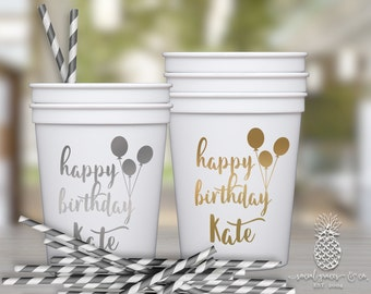 Party Balloon Birthday Cups