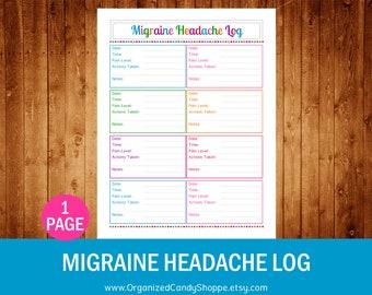 Migraine Headache Log • Instant Download PDF Printable