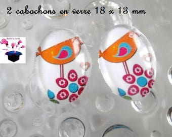 2 glass cabochons 18mm x 13mm theme little birds in the Meadow