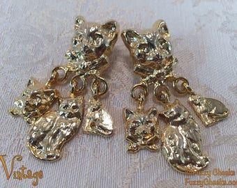 CATS Gold-tone Earrings Vintage 1980s Cute Collectible Jewelry dangling dangle kitty kittens head charms Gifts for Girls ear rings Eighties