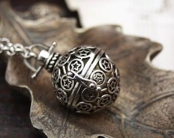 Pentagram fairy bell, bolas pendant, locket pendant, hinged locket pendant, musical birth gift pendant