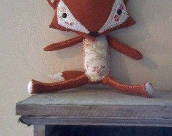 Little Foxy Loxy with Vintage Rose cotton and 100% organic wool body