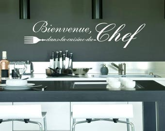 Welcome decal in the kitchen of the head. black or white