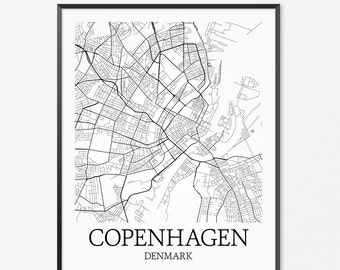 Copenhagen Map Art Print, Copenhagen Poster Map of Copenhagen Decor, Copenhagen City Map Art, Copenhagen Gift, Copenhagen Denmark Art Poster
