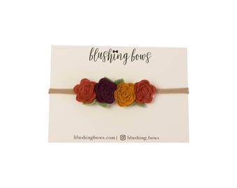 Felt Flower Headband, Felt Flower Crown- Autumn Leaves
