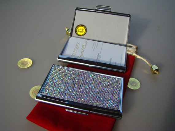 Business Card Case Crystal AB Rhinestone Crystals, Card Case , Business Card holder. Genuine Rangsee Crystal Cases