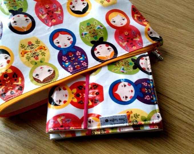 Russian Dolls wipe clean changing mat and zip bag
