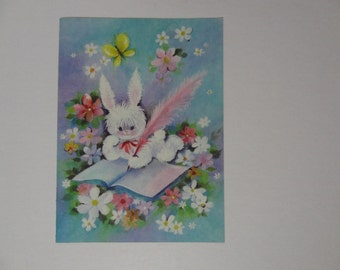 Vintage Greeting Card - Get Well Card - Fluffy White Bunny, Flowers - Never Used