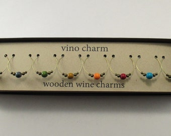 8 wood wine charms | gift box | wooden wine glass charms - wine hostess gift - wine glass markers - drink markers - unique wine gift AW8-1