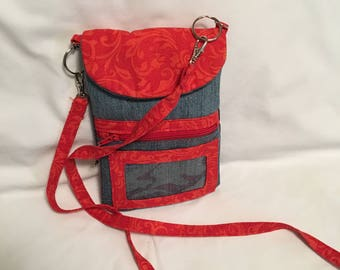 Recycled Denim and Red Cell phone Cross-Body or Shoulder Bag/Pouch