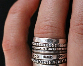 Sterling silver stacking rings.Stackable, textured rings.Silver stacks.Set of 7 rings.Rustic, organic silver rings.Gift for her.