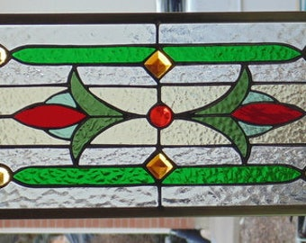 Stained Glass Transom or Sidelight Window Hanging 33 X 9