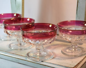 King's Crown, Sherbets Glass, Cranberry Flashed, Indiana glass, King's Thumbprint