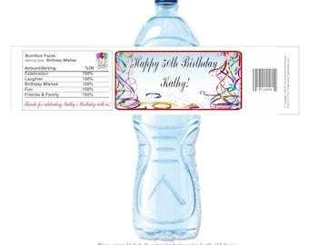 Birthday Streamers, Birthday Stickers, Water Bottle Label, 50th Birthday Party, Waterproof label, Custom Water Labels (Set of 24) (Y565)