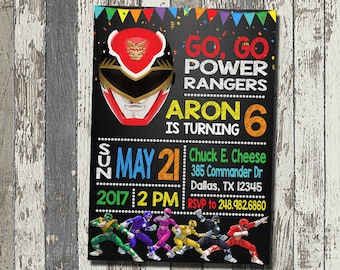 Power Rangers Invitation, Power Rangers Birthday Party, Power Rangers Birthday Invitation, Personalized, Digital File