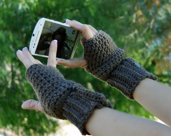 Coco brown fingerless gloves, arm warmers, wrist warmers, crochet arm warmers, crochet gloves, texting gloves, mittens, festival gloves