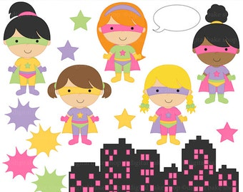 digital clipart superhero clip art super hero girls - Super Girls Clipart - BUY 2 GET 2 FREE