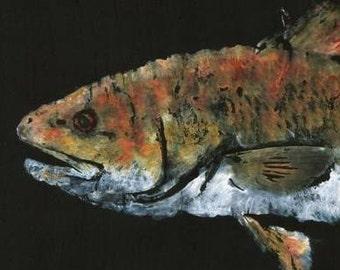 "Redfish - ""Red Hot"" - Gyotaku Fish Rubbing - Limited Edition Print (28.5 x 11)"