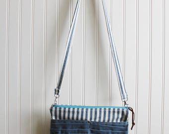 Cross Body Purse with Front Pockets- Waxed Canvas Outside Pockets
