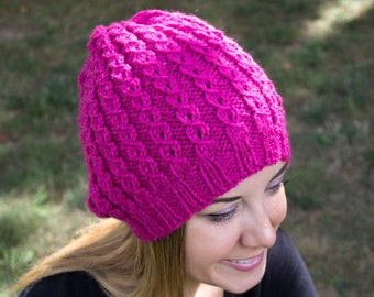 Pink Slouchy Knit Hat - Hot Pink Vegan Hat - Boho Hat - Hipster Hat - Hippie Hat - Womens Tam - Mens Beanie - Handknit - Gift for Her