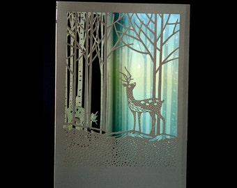 Christmas or any occasion laser cut deer greeting card paper cut art display