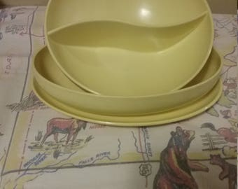 Vintage 1950's Melmac SunnyYellow 3pc Serving  Set Dishes