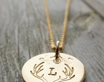 Gold Filled Personalized Antler Necklace - Deer Antlers with Monogram Initial in 14k GF - Custom Design by EWD