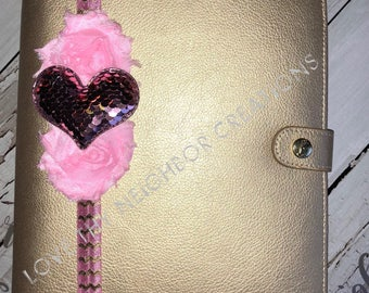 Pink Sequin Heart Planner Band