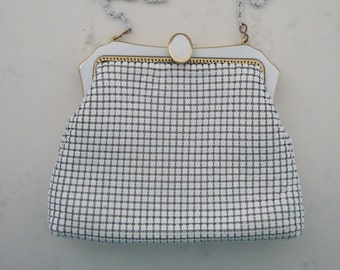 Vintage White Metal Mesh 1950s Purse with Enamel & Gold Clasp and Chain Strap - Wedding Purse - Mad Men Style