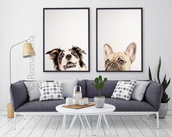 PEEKABOO set of 2 Dog paintings, custom pet portraits, dog portrait custom painting memorial dog lover gift custom dog art dog lovers gift
