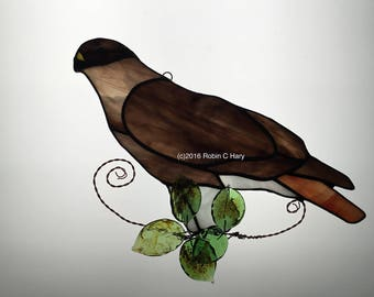 Red Tailed Hawk Suncatcher in Stained Glass