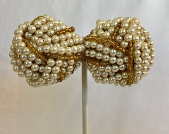 Giant Faux Pearl and Gold Seed Bead Love Knot Cluster Bead Vintage Clip Earrings