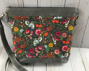 Grey crossbody bag, waxed canvas bag, floral crossbody bag