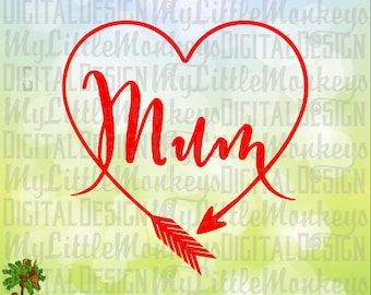 Mum Heart Shaped Arrow One Layer Welded Design Clip Art & Cut File 300 dpi Jpeg Png SVG EPS DXF Instant Download