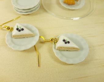 Blueberry Vanilla Cake Earrings, Miniature food earrings, Cute Cake Earrings, Vanilla Cake Earrings, polymer clay earrings, Food jewelry