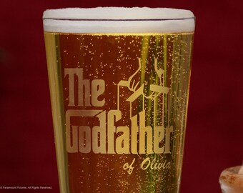 Godfather Pint Glass, Personalized Pint Beer Glass Godparent Gift, Custom Beer Glass Communion / Baptism Gift, Will you be my Godfather Gift