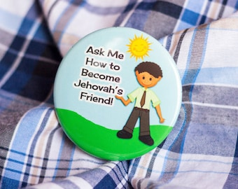 Jehovah's Friend, Boys pin back buttons, jw.org, ministry pins,for kids,jw kids,jehovah witness badge,convention gifts,jwstuff,for witnesses