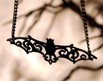 Filigree Bat necklace in black stainless steel - bat pendant - gothic necklace - black bat jewelry