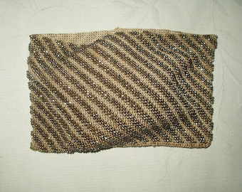 Vintage 1920's Knitted Silver Beaded Beadwork Purse Part For Craft Project